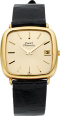 Timepieces:Wristwatch, Piaget 18k Gold Gent's Automatic With Date. ...