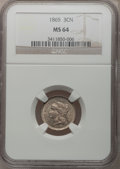 Three Cent Nickels: , 1865 3CN MS64 NGC. NGC Census: (520/147). PCGS Population(475/139). Mintage: 11,382,000. Numismedia Wsl. Price forproblem...