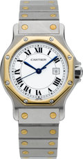 Timepieces:Wristwatch, Cartier Two Tone Mid-Size Automatic Santos. ...