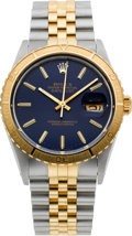 Timepieces:Wristwatch, Rolex Ref. 16253 Two Tone Blue Dial With Thunderbird Bezel, circa1987. ...