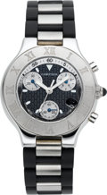 Timepieces:Wristwatch, Cartier Chronscaph 21 Steel New/Old Stock Chronograph. ...