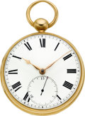 Timepieces:Pocket (pre 1900) , Joseph Johnson Liverpool Gold Rack Lever Fusee With 15 SecondSubsidiary, circa 1840's. ...