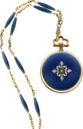Timepieces:Pocket (post 1900), Swiss Gold & Enamel Pendant Watch With Chain, circa 1910. ...