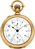 Timepieces:Pocket (pre 1900) , Swiss Gold Split Second Chronograph For Spaulding & Co. Chicago, circa 1885. ...