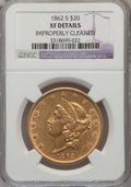 Liberty Double Eagles, 1862-S $20 --Improperly Cleaned--NGC Details. XF. NGC Census:(66/714). PCGS Population (84/335). Mintage: 854,173. Numismed...