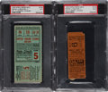 Baseball Collectibles:Tickets, 1925 World Series Games Five and Six Ticket Stubs (2)....
