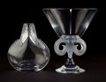 Art Glass:Lalique, TWO LALIQUE GLASS VASES . Glass vase with rams head and footed baseand glass vase with foliate decoration to neck, circa 20... (Total:2 Items)