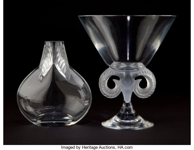 Two Lalique Glass Vases Glass Vase With Rams Head And Footed Lot
