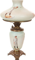 Baseball Collectibles:Others, Early Twentieth Century Handpainted Lamp with Sports Theme....