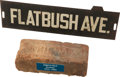 Baseball Collectibles:Others, 1913 Ebbets Field Brick & 1950's Flatbush Avenue StreetSign....