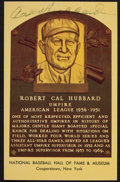 Autographs:Post Cards, Cal Hubbard Signed Gold Hall Of Fame Plaque....