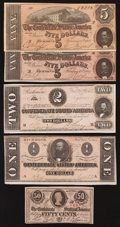 Confederate Notes:Group Lots, Mixed Lot of Well Preserved Confederate Notes.. ... (Total: 5notes)