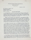 Hockey Collectibles:Others, 1948 Historic Frank Boucher Signed Letter - Regarding Campbell's Decision on Jacques Plante's Future as a Montreal Canadien....