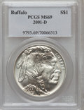 Modern Issues: , 2001-D $1 Buffalo Silver Dollar MS69 PCGS. PCGS Population(10078/480). NGC Census: (10217/1479). Numismedia Wsl. Price fo...