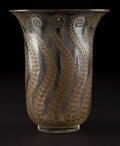 Art Glass:Lalique, R. LALIQUE CLEAR GLASS MEDUSE VASE WITH SEPIA PATINA . Circa1921 . Molded: R. LALIQUE. 6-1/2 inches high (16.5 ...