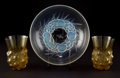Glass, R. LALIQUE SETUBAL GLASS AND A MONT DORE COUPE . Circa 1930. Molded and Stenciled: R. Lalique, Fra... (Total: 2 Items)
