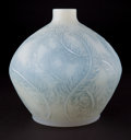 Glass, R. LALIQUE CASED OPALESCENT GLASS PLUMES VASE WITH BLUE PATINA . Circa 1928. Engraved: R. Lalique, France ...