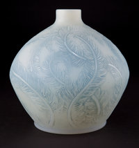 R. LALIQUE CASED OPALESCENT GLASS PLUMES VASE WITH BLUE PATINA Circa 1928 En
