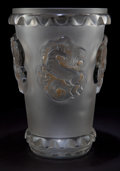 Art Glass:Lalique, RENE LALIQUE CLEAR AND FROSTED GLASS CARMAGUE VASE . Clearand frosted pressed glass vase with horse motif in th...