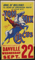 """Movie Posters:Western, Tom Mix Circus Poster (Tom Mix, 1937). Poster (21.5"""" X 28"""") with Date Snipe Attached (9"""" X 20"""").. ..."""