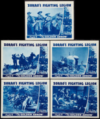 "Zorro's Fighting Legion (Republic, 1939). Lobby Cards (5) (11"" X 14"") Chapter 9 -- ""The Golden Arrow.&quo..."