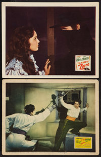 """The Mark of Zorro (20th Century Fox, 1940 and R-1946). Lobby Cards (2) (11"""" X 14""""). Swashbuckler. ... (Total:..."""