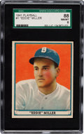 Baseball Cards:Singles (1940-1949), 1941 Play Ball Eddie Miller #1 SGC 88 NM/MT 8 - Pop One, NoneHigher!....