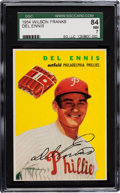 Baseball Cards:Singles (1950-1959), 1954 Wilson Franks Del Ennis SGC 84 NM 7 - Pop One with None Higher! ...