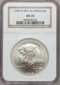 Modern Issues: , 1995-W $1 Special Olympics Silver Dollar MS70 NGC. NGC Census:(186). PCGS Population (57). Numismedia Wsl. Price for prob...