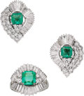 Estate Jewelry:Suites, Emerald, Diamond, White Gold Jewelry Suite. ...
