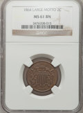 Two Cent Pieces, 1864 2C Large Motto MS61 Brown NGC. NGC Census: (35/1195). PCGSPopulation (17/709). Mintage: 19,847,500. Numismedia Wsl. ...