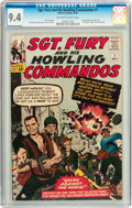 Silver Age (1956-1969):War, Sgt. Fury and His Howling Commandos #1 (Marvel, 1963) CGC NM 9.4 Off-white to white pages....