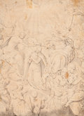 Fine Art - Work on Paper:Drawing, Circle of CHRISTOPH SCHWARZ (German, 1545-1592). The Coronation of the Virgin. Pen, ink, and wash on beige paper mounted...
