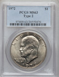 Eisenhower Dollars, 1972 $1 Type Two MS63 PCGS. PCGS Population (478/468). Numismedia Wsl. Price for problem free NGC/PCGS ...