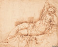 Fine Art - Work on Paper:Drawing, ITALIAN SCHOOL (16th Century). Dormant Ariadne. Pen andsepia ink on paper laid on two additional sheets. 7-1/2 x 9-1/4 ...