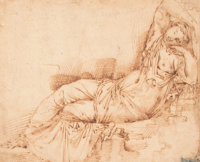 ITALIAN SCHOOL (16th Century) Dormant Ariadne Pen and sepia ink on paper laid on two additional shee