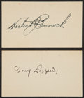 Autographs:Index Cards, Tony Lazzeri And Herb Pennock Signed index Cards....