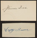 Autographs:Index Cards, Jimmie Foxx And Lefty Grove Signed Index Card And Cut....