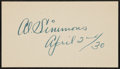 Baseball Collectibles:Others, 1930 Al Simmons Signed Cut Signature. ...
