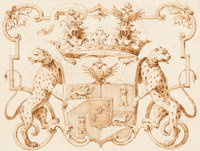 VENETIAN SCHOOL (Italian, 18th Century) Coat of Arms, possibly Charles V Pen and sepia ink on buff p