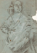 Fine Art - Work on Paper:Drawing, FLEMISH SCHOOL (17th/18th Century). Portrait of a Man (Peter theGreat?). Charcoal and white chalk on blue paper. 12-1/4...