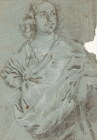 FLEMISH SCHOOL (17th/18th Century) Portrait of a Man (Peter the Great?) Charcoal and white chalk on