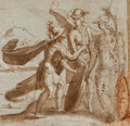 Fine Art - Work on Paper:Drawing, Attributed to DOMENICO CRESTI (Italian, 1559-1638). Mars,Mercury, and Minerva. Brown ink and wash heightened withwhite...