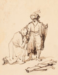 Works on Paper, After FERDINAND BOL (Dutch, 1616-1680). David Taking Leave of Jonathan (Samuel 20: 41-42), 19th century. Pen and ink and...