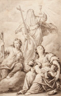 Fine Art - Work on Paper:Drawing, VENETIAN SCHOOL (18th Century). Saint Theresa, a second femalesaint and Charity (possibly preliminary study for an altarp...