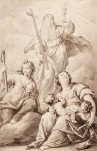 VENETIAN SCHOOL (18th Century) Saint Theresa, a second female saint and Charity (possibly preliminary study for