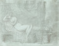 Fine Art - Work on Paper:Drawing, Attributed to PIERRE-PAUL PRUD'HON (French, 1758-1823).Odalisque (Potiphar's Wife). Graphite and chalk on bluepaper af...