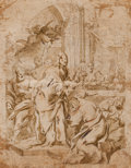 Fine Art - Work on Paper:Drawing, Attributed to GIROLAMO BONINI (Italian, 1620-1690). TwoReligious Scenes, possibly studies for altarpieces. Pen and ink... (Total: 2 Items)