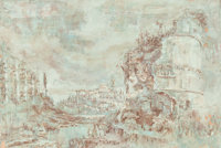 ITALIAN SCHOOL (Late 17th Century) Capriccio Oil and brown wash on paper laid on a second sheet 1