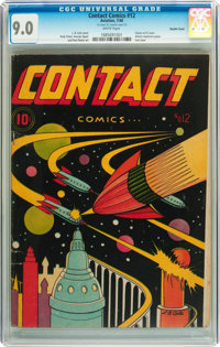Contact Comics #12 Double Cover (Aviation Press, 1946) CGC VF/NM 9.0 White pages